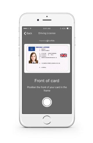 Onfido Mobile SDK Drivers Licence (Copyright Onfido)