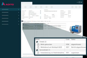 Screenshot der ADITO Branchen-Lösung Anlagen- und Maschinenbau