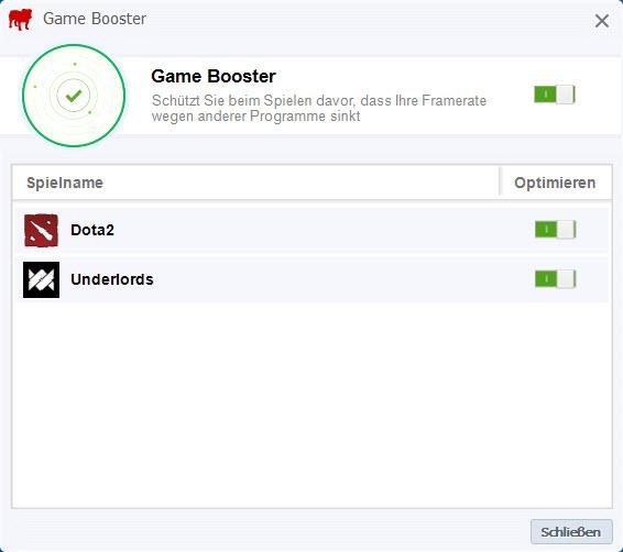 Der Game Booster darf natürlich in den neuen Version der BullGuard Security-Suite nicht fehlen.