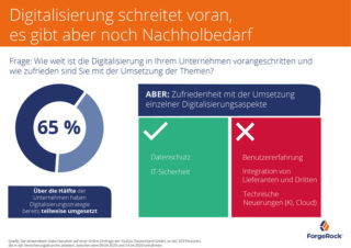 65% haben Digitalisierungsstrategie teilweise umgesetzt, sind aber mit einzelnen Themenbereichen noch unzufrieden (Quelle: ForgeRock)