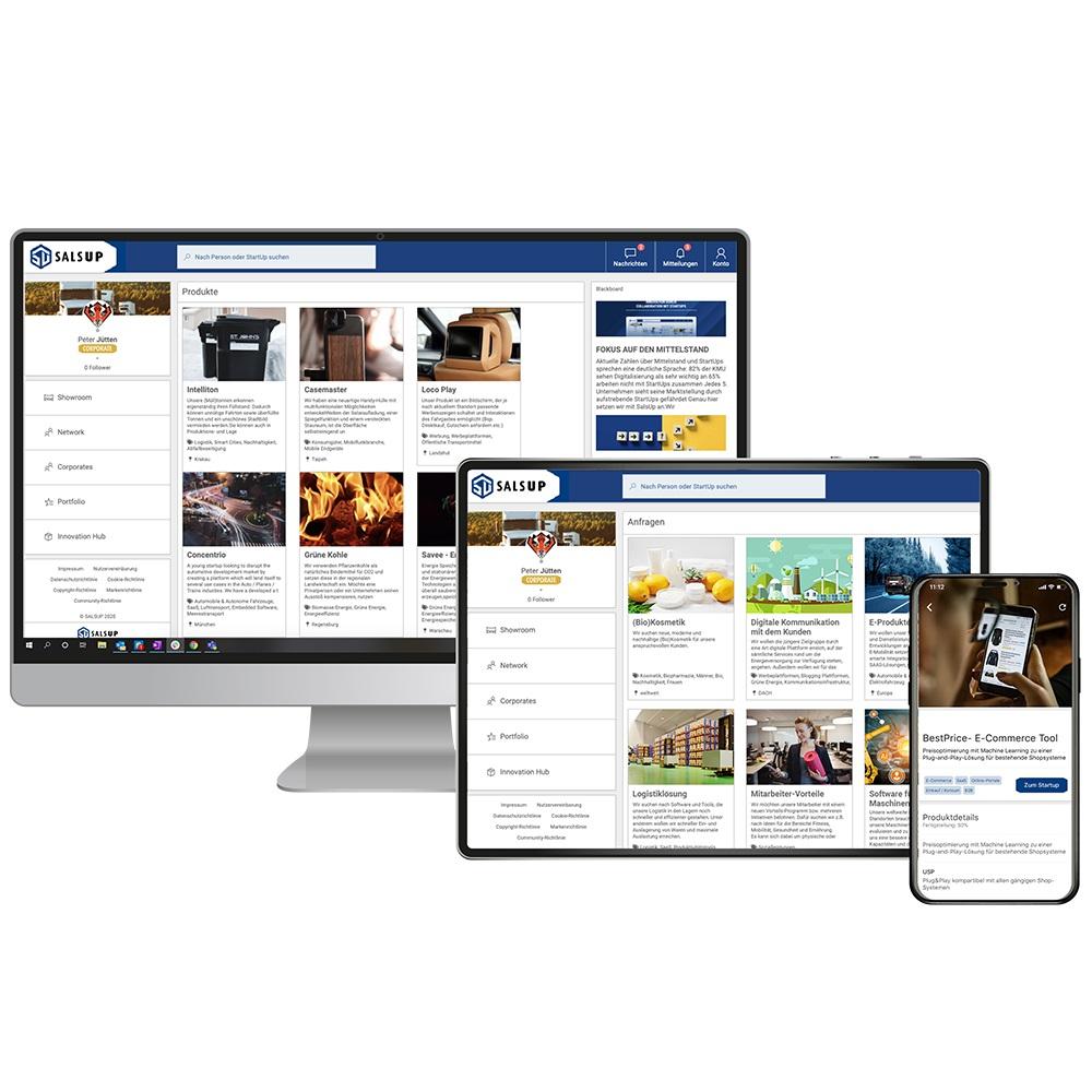 Der Innovation Hub von SalsUp ermöglicht Mitttelständlern online nach Produkten und Innovationen von Start-Ups zu suchen. Bildquelle: SalsUp