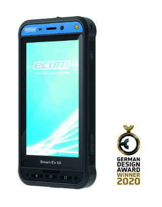 Ausgezeichnet mit dem German Design Award 2020: das neue explosionsgeschützte Smartphone Smart-Ex 02 von ecom.(CR: ecom)