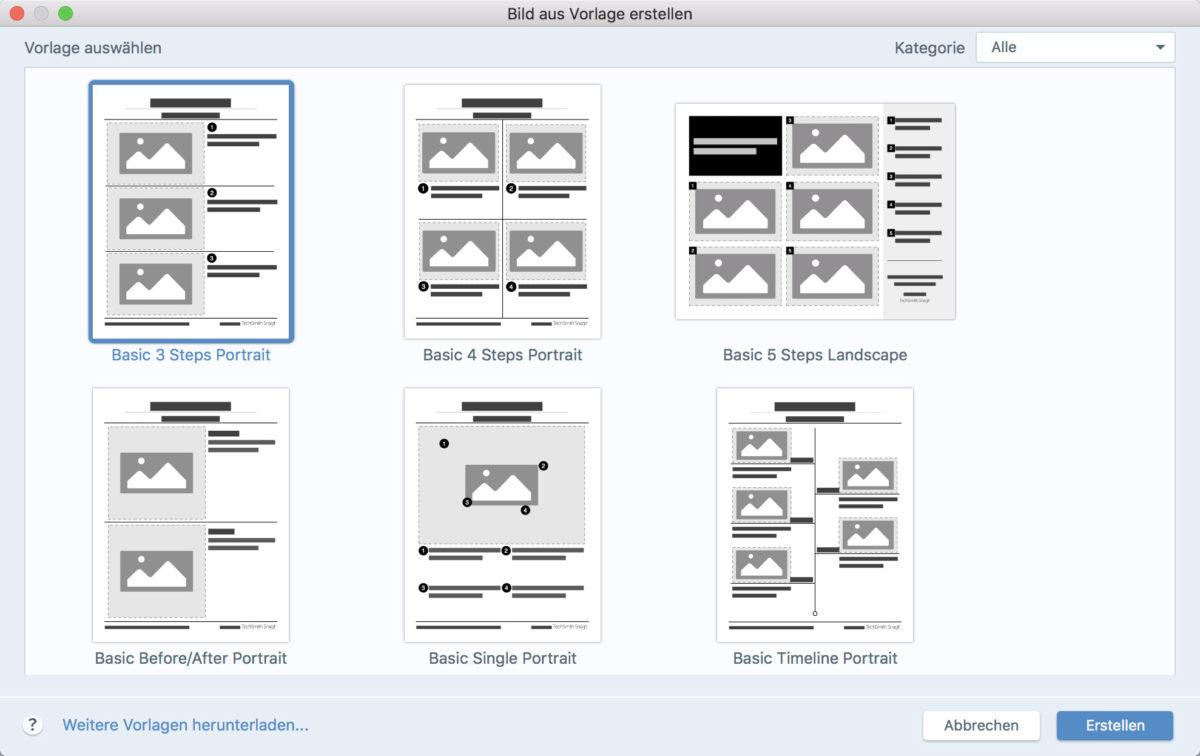 In der neuen Version sind vorgefertigte Layouts für Anleitungen in Snagit integriert. Sie helfen Nutzern dabei, schnell professionelle Anleitungen, Tutorials oder Lehrinhalten zu erstellen - Copyright TechSmith