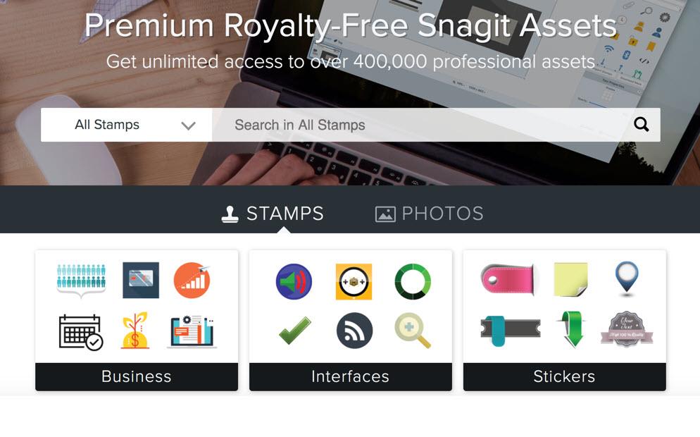 TechSmith Assets bietet Zugriff auf eine Datenbank mit über 400.000 Bildern, Grafiken und weiteren visuellen Inhalten wie Vorlagen und Stempel