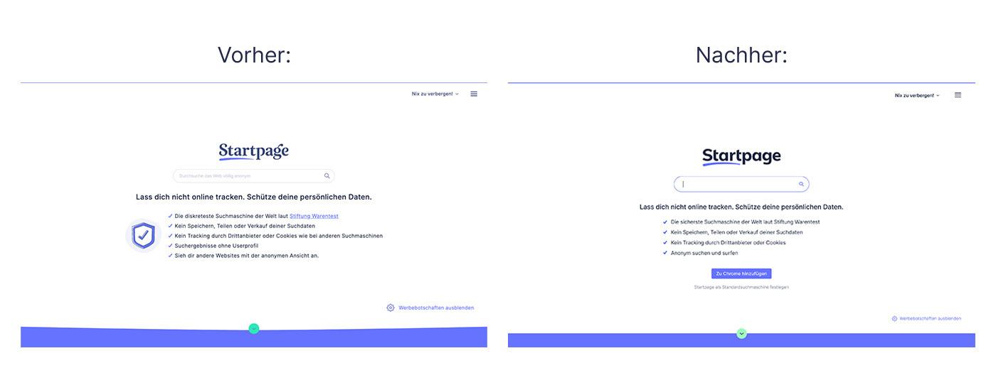Startpage Vorher and Nachher