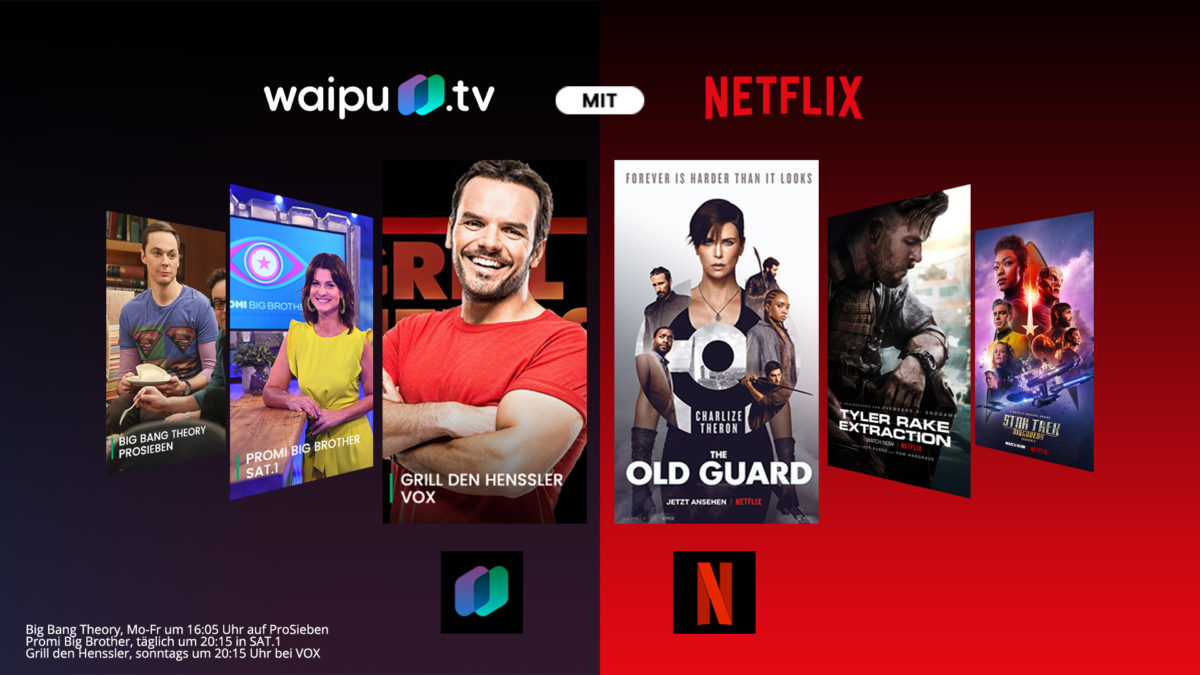 waipu.tv und Netflix ab sofort in einem Paket erhältlich - Copyright Exaring AG